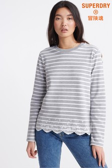 Superdry Grey Stripe Long Sleeve Top