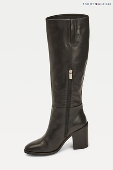 Tommy Hilfiger Black Shaded Leather Boots