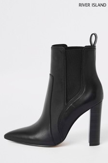 River Island Black Marley High Western Ankle Boots