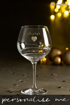 Personalised Diamanté Gin Glass by Loveabode