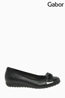 Gabor Silent Black Leather Fashion Casual Ballerinas