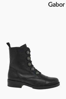 Gabor Lady Black Leather Fashion Ankle Boots