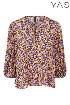 Y.A.S Pink Floral Print Sori Puff Sleeve Blouse
