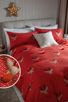 Red 100% Brushed Cotton 3D Rudolph Pom Pom Duvet Cover and Pillowcase Set