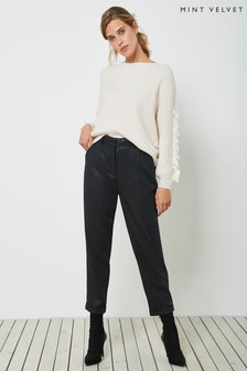 Mint Velvet Black Coated TENCEL™ Trousers