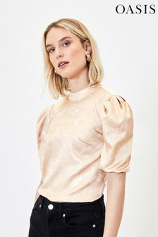 Oasis Gold Foil Satin Top
