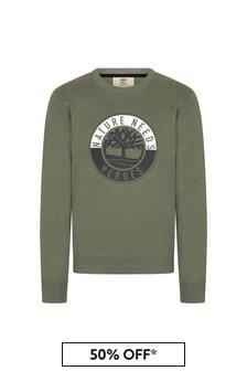 Timberland Green Cotton Sweat Top