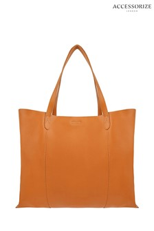 Accessorize Tan Sofia Leather Tote Bag