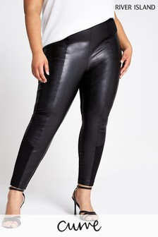 River Island Curve Black Ponte Mix Trousers