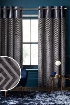 Charcoal Grey Cut Velvet Geometric Eyelet Blackout/Thermal Curtains