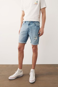 Ripped Denim Shorts With Stretch