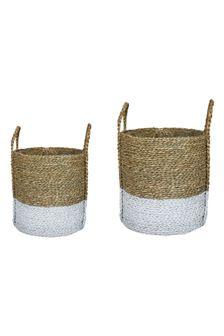 Set of 2 Seagrass Log and Kindling Baskets by Ivyline
