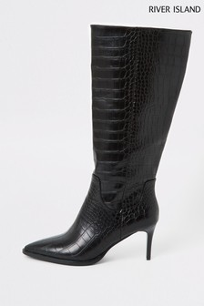 River Island Black Croc Taxi Knee High Boots