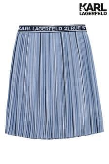 Karl Lagerfeld Blue Logo Pleated Maxi Skirt