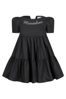 Monnalisa Girls Black Cotton Dress