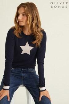 Oliver Bonas Navy Star Intarsia Knit Jumper