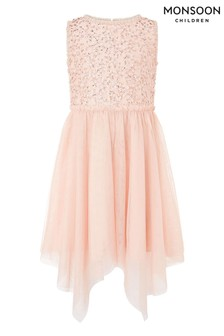 Monsoon Peach Sequin Frill Hanky Hem Dress