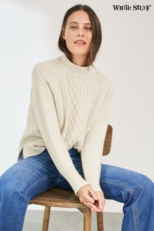 White Stuff Ivory Cinnamon Cable Jumper