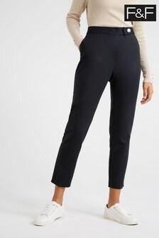 F&F Black Cotton Base Trousers