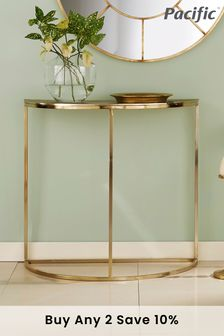 Pacific Lifestyle Gold Metal Half Moon Console Table