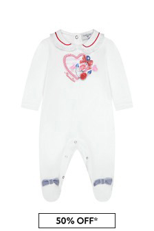Monnalisa Baby Girls White Cotton Babygrow