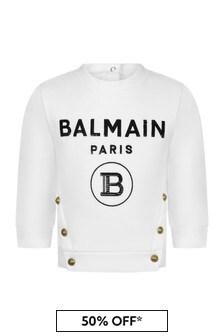 Balmain Baby Girls White Cotton Sweater