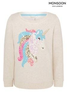 Monsoon Camel Sequin Unicorn Sweatshirt In Organic Cotton
