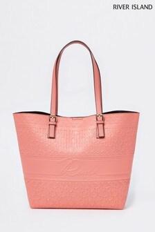 River Island Orange Script Embossed Shopper Bag