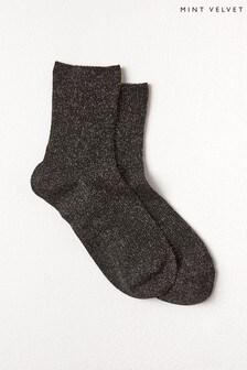 Mint Velvet Black Glitter Socks