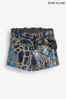 River Island Blue Sequin Leopard Bow Shorts