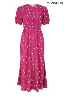 Monsoon Pink Spot Print Sustainable Midi Dress