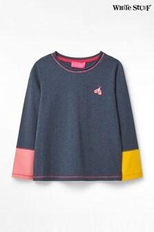 White Stuff Blue Kids Mini Me Colourblock Jersey T-Shirt