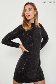 Mint Velvet Black Sequin Mini Dress