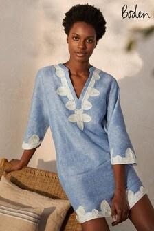 Boden Blue Bella Embroidered Linen Dress