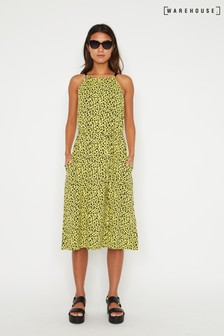 Warehouse Yellow Neon Leopard Halter Midi Dress