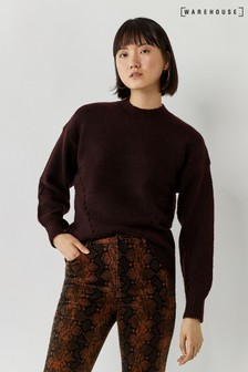 Warehouse Brown Curved Hem Cosy Jumper