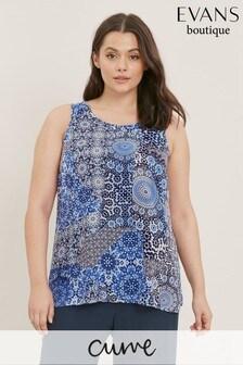 Evans Curve Blue Tile Print Vest