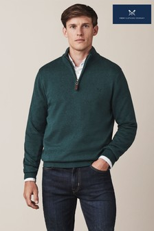 Crew Clothing Company Green Classic 1/2 Zip Knit Jumper