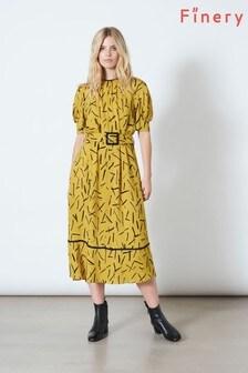 Finery London Yellow Cora Belted Short Sleeve Midi Dress