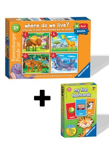 Ravensburger Where Do We Live? 6,8,10,12pc My First Flash Card Game Twin Pack
