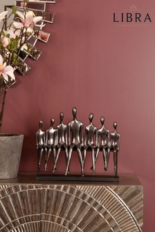 Libra Figures on a Bench Sculpture In Gunmetal Grey