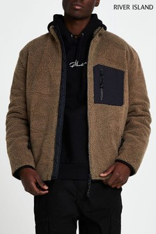 River Island Stone Borg Zip Through Jacket