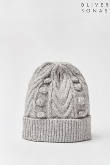 Oliver Bonas Cable & Bobble Detail Grey Knitted Beanie Hat