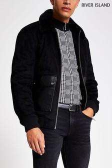 River Island Black Woo Woo PU Pockets Jacket