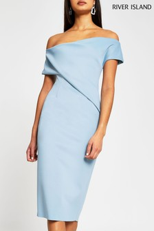 River Island Blue Light One Shoulder Midi Dress