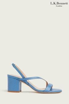 L.K.Bennett Blue Nine Block Asymmetric Heels