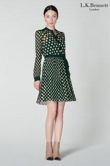 L.K.Bennett Green Cora Large Polka Dot Plissé Dress