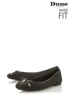 Dune London Wide Fit Black Leather Bow Detail Ballerinas