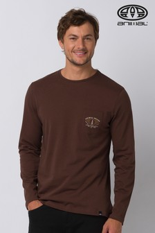 Animal Brown Scrambler Long Sleeve Graphic T-Shirt