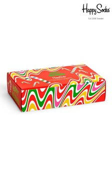 Happy Socks Red Women's Psychedelic Holiday Socks 4 Pack Gift Box